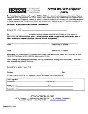 ferpa form waive or not  Ferpa Release At Usf - Fill Online, Printable, Fillable ...
