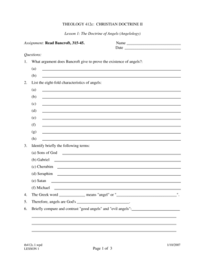 THEOLOGY 412c CHRISTIAN DOCTRINE II
