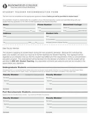 Student Teacher Recommendation Form - Bloomfield College