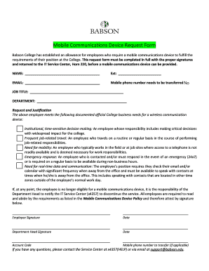 mobile communications device request form babson college