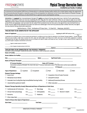 Fillable Online fresnostate Physical Therapy Observation Hours Fax ...