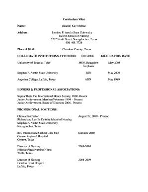 Printable Curriculum Vitae Nursing Graduate School Edit Fill Out