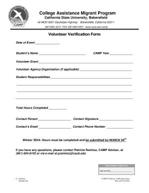 Fillable Online csub Volunteer Verification Form - California ...