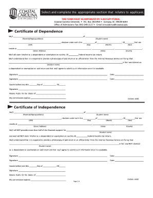 dependencecertificate form