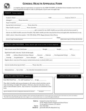 Fillable Online General Health Appraisal Form (rev 11.13 ...
