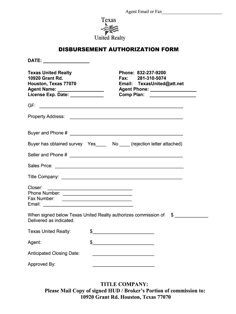 Disbursement Authorization Fill Online Printable