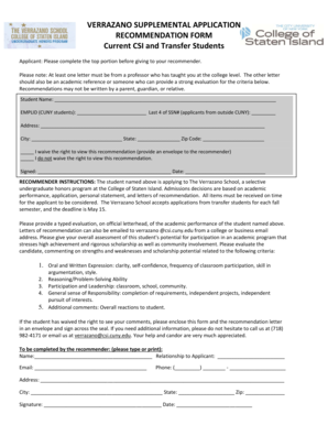 Verrazano Recommendation Form for Current CSI and Transfer ... - csi cuny