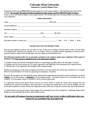 Mesa State Colorado Mesa University Request For Contract Release Form  Submission Of This Request Does Not Guarantee Approval For Off Campus  Residency. The ...