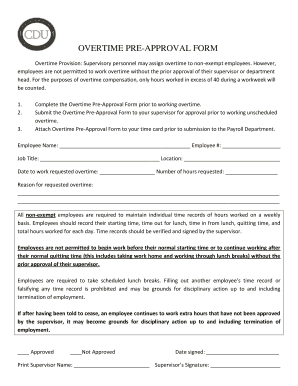 Fillable Online cdrewu OVERTIME PRE-APPROVAL FORM Fax Email Print ...