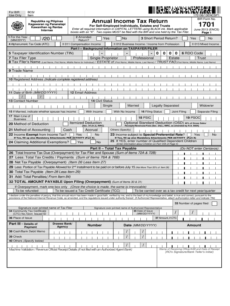 example of filled up bir form 1701