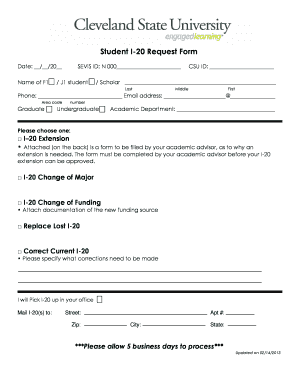 Fillable online csuohio student i 20 request form cleveland state rate this form thecheapjerseys Gallery