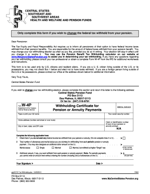Form W4-P (Federal Tax Withholding) - Central States Pension Fund