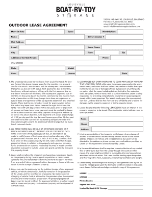 OUTDOOR LEASE AGREEMENT - Louisville Boat & RV Storage