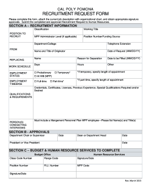 Recruitment Request Form - Fill Online, Printable, Fillable, Blank ...