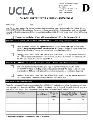 2014-2015 dependent verification form - UCLA Financial Aid Office