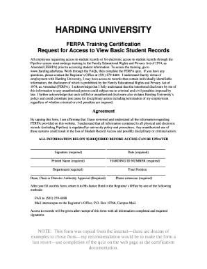 ferpa form in spanish  Fillable Online harding HARDING UNIVERSITY FERPA Training ...