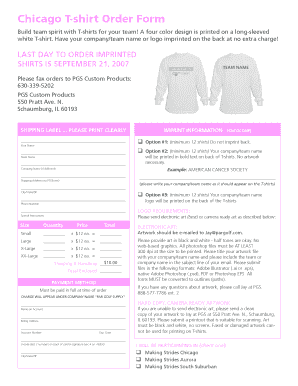 Chicago T-shirt Order Form - Making Strides - makingstrides acsevents