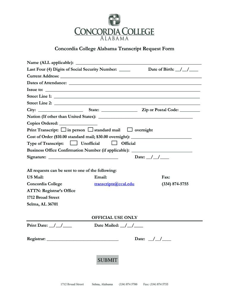 Concordia College Alabama - Fill Online, Printable, Fillable