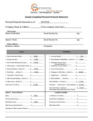 sample personal financial statements