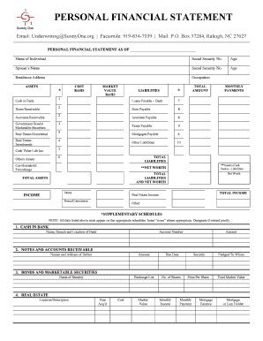 personal surety template - personal financial statement performance bond fill
