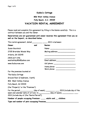 Wonderful Vacation Rental Template Sc Pdf Form