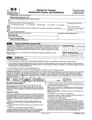 Fillable Online W-9 form (PDF) - BMI Educational Services Fax ...