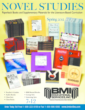 BMI 2012 Novel Studies 7-12. BMI is proud to offer our 2012 catalog for novel studies collections for grades 7-12. The perfect companion for high school cirriculum, including Novel-Ties and Novel Units teacher's guides.