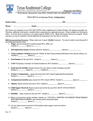 Financial Aid Office 2014-2015 Low Income Form- Independent