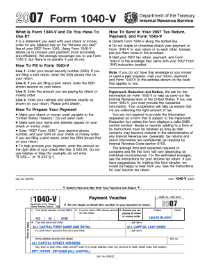 Form 1040 V - Fill Online, Printable, Fillable, Blank | PDFfiller