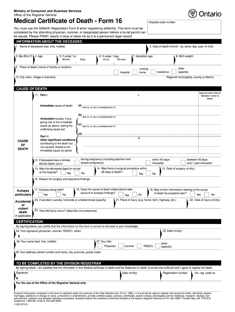 Fillable Online Medical Certificate of Death - Form 16 Fax
