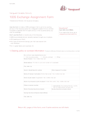 Fillable Online 1035 Exchange Assignment Form. Use this form if ...