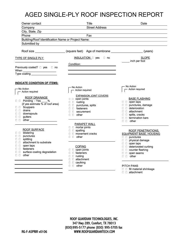 Roof Inspection Report Fillable Fill Online Printable