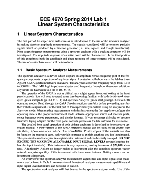 ECE 4670 Spring 2014 Lab 1 Linear System Characteristics - eas uccs