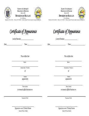 Certificate of appearance fill online printable fillable blank certificate of appearance yadclub Images