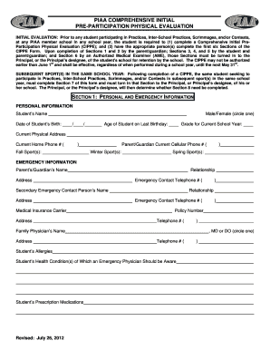 Fillable Online PIAA Physical Form - Bishop McDevitt High School ...