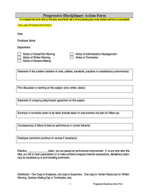 Progressive Discipline Form Template Fill Online Printable