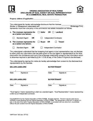 Fillable Online VAR Form 102 - Virginia Association of Realtors ...