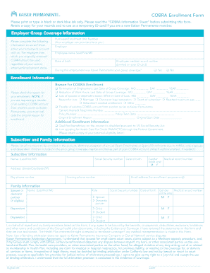 Fillable Online mymeba Kaiser Permanente - COBRA Enrollment Form ...