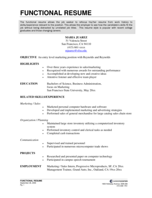 Functional Resume - San Francisco State University - sfsu