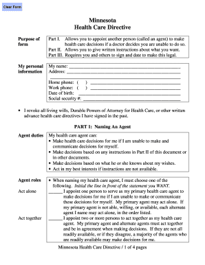 Fillable Online mnmed Minnesota Health Care Directive Form ...