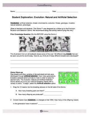 student exploration natural selection worksheet answers fill online printable fillable. Black Bedroom Furniture Sets. Home Design Ideas
