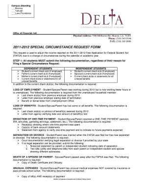 financial aid form fa11