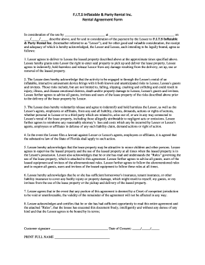 Bounce House Agreement Form Fill Online Printable
