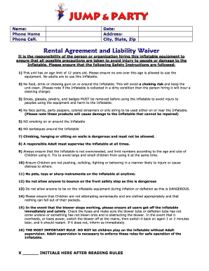 Waiver For Party Area Rental Miami Fill Online Printable