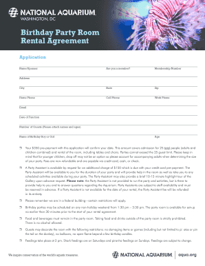 Fillable Online aqua Birthday Party Room Rental Agreement National