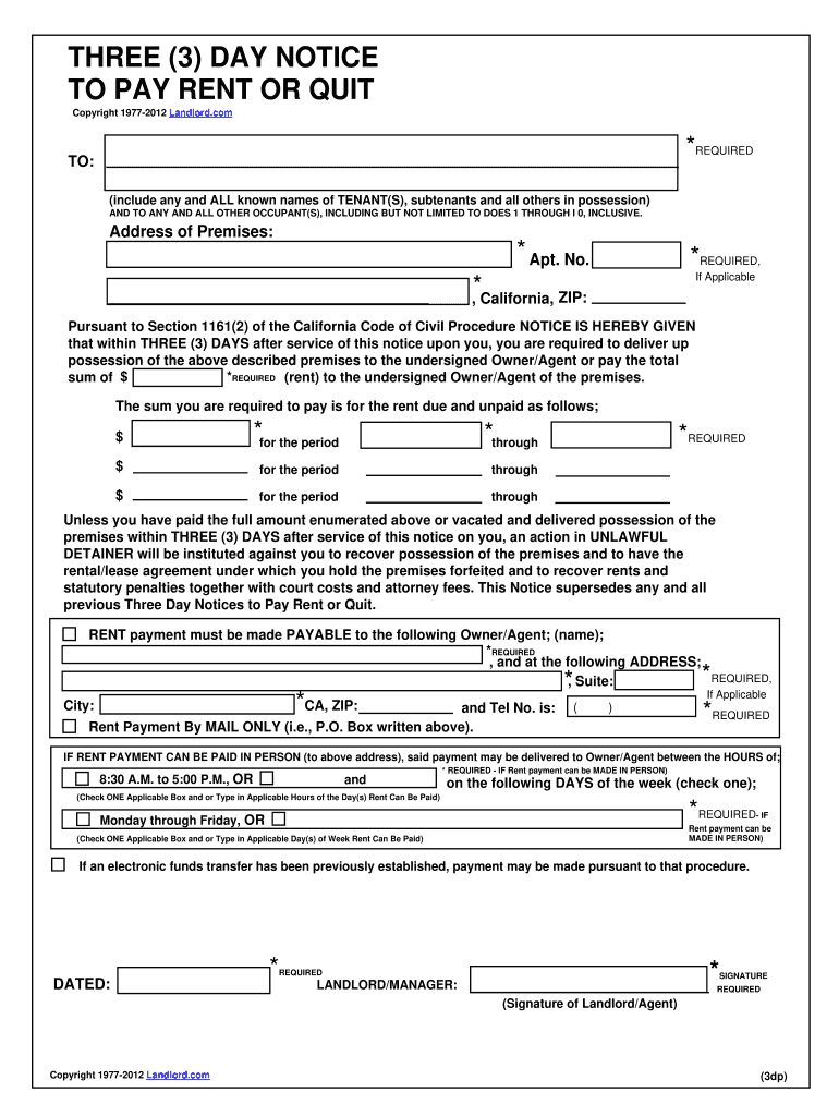 Notice To Pay Or Quit Pdf Fill