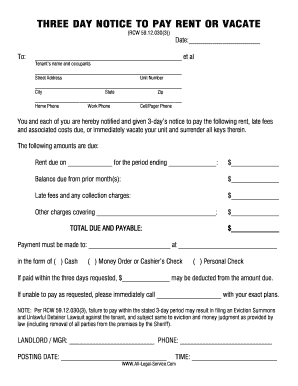 3 day eviction notice template
