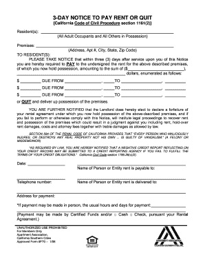 california eviction notice form