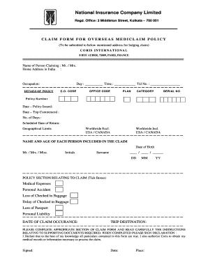 National Insurance Claim Form Fill Online Printable Fillable