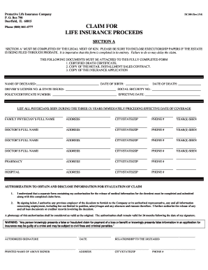 protective life insurance forms Fillable Online Credit Life Insurance Claim Form - Protective Asset ...